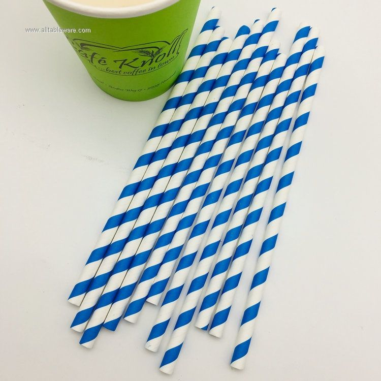 Paper Straws Biodegradable Stripe Drinking Straw for Celebration Parties