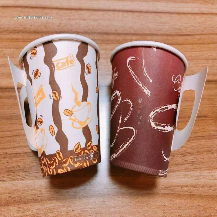 4oz disposable single wall coffee paper cup with handle
