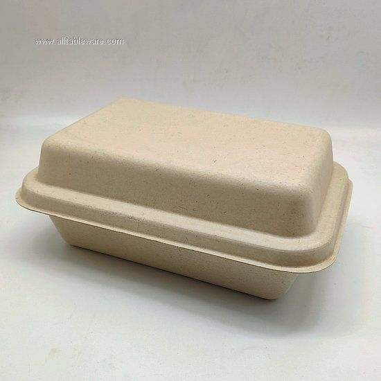 1000ml High End Disposable Food Container With Lid Sugarcane Tableware In Bulk