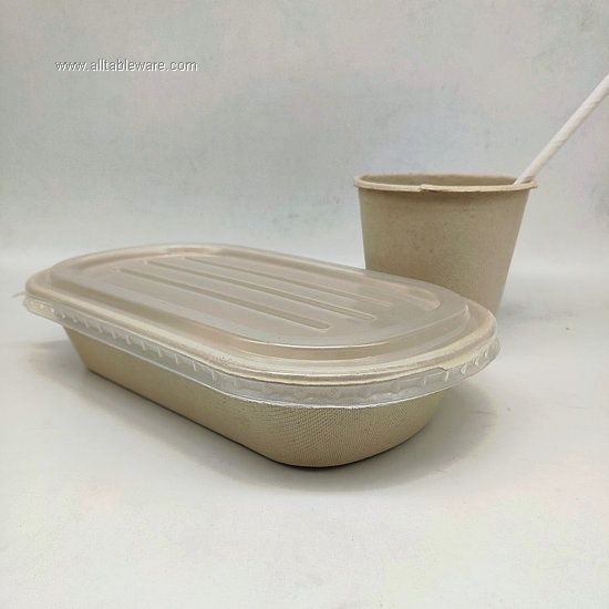 100% Biodegradable Wheat Straw Tableware Disposable Food Box With PP-lid 800ml
