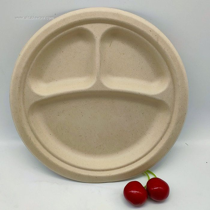 9 Inches 3 Compartment Wheat Straw Food Plate on Sale