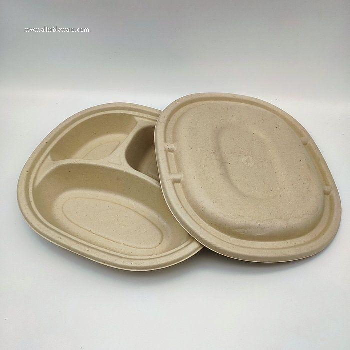 Wheat Straw Compostable Food Packaging Box Paper Box 3 Parts Food Container