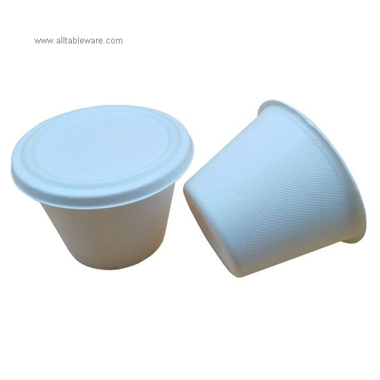 17OZ Disposable Biodegradable Bagasse Sugarcane Cup With Lid For Drinking