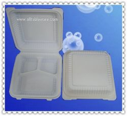 9nch 3compartments cornstarch clamshell