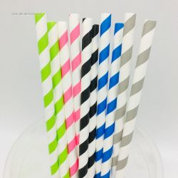 Wholesale Disposable Striped Food Grade Kraft Paper Drinking Paper Straws Biodegradable