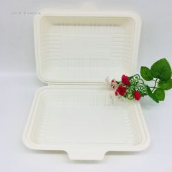 600ml Food Grade  Clamshell Fast Food Biodegradable Box
