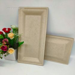 Fancy Customized logo Tableware Biodegradable Rectangle Plate For Party
