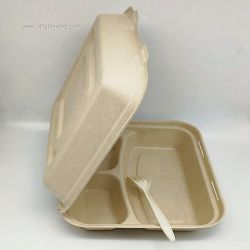 10inch 3 Compartment Paper Pulp Takeaway Lunch Box Food Container
