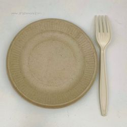 8 Inches Wheat Straw Striped Plate