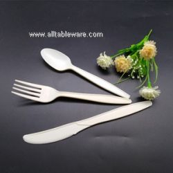 100% Biodegradable Compostable Cornstarch Knife  Fork Spoon Cutlery Set