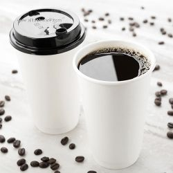 100% Compostable Eco Friendly Disposable PLA Coated Coffee Paper Cups With Lids