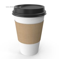 Popular Style Compostable Single Wall Disposable Coffee Paper Cups With Lids And Sleeve